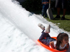 Happy Kid Sliding Down the Snow
